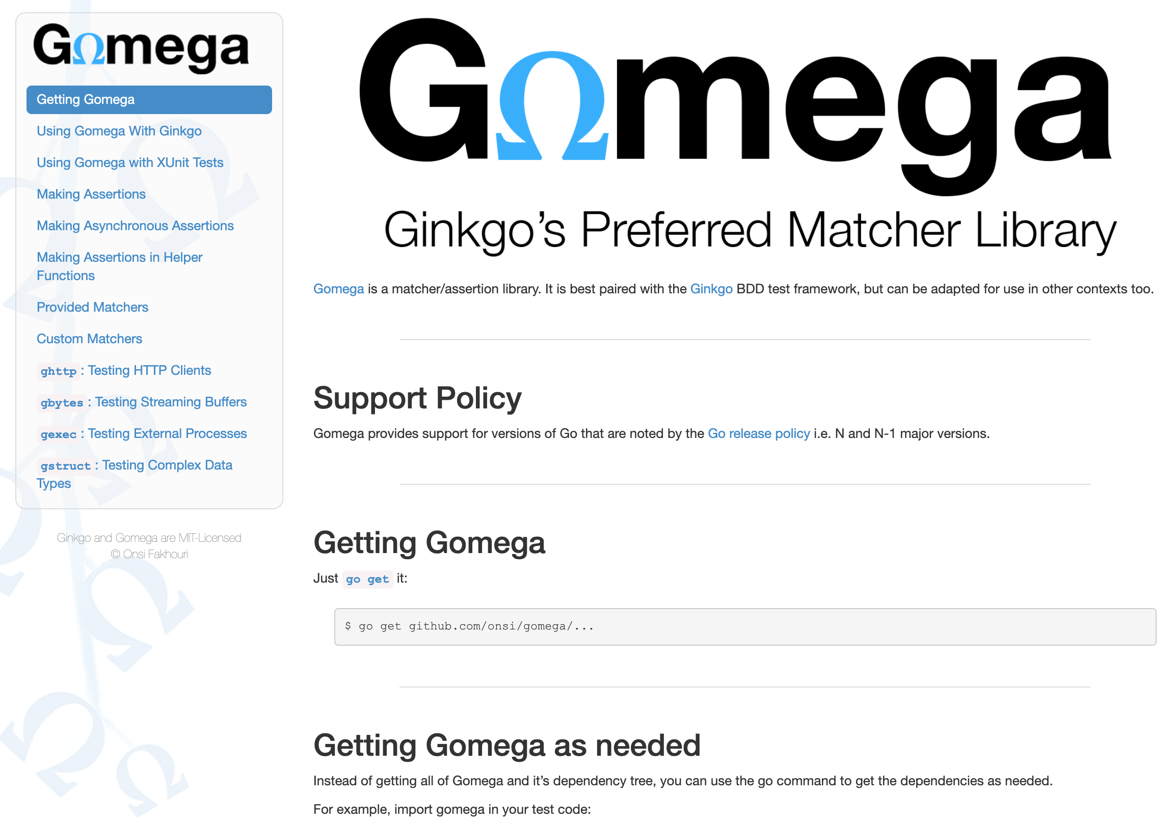 Gomega provides support for versions of Go
