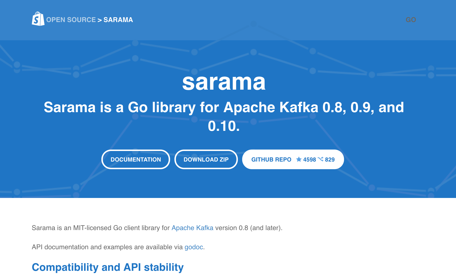 Sarama Go library for Apache Kafka